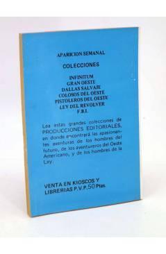 Contracubierta de FBI FEDERAL BUREAU INVESTIGATION 333. SILENCIO ACCIÓN (Herbert Shane) Producciones Editoriales 1982