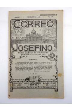 Cubierta de REVISTA CORREO INTERIOR JOSEFINO 321. COLEGIOS DE SAN JOSÉ. NOVIEMBRE (Mosen Sol) Colegio de San José 1923