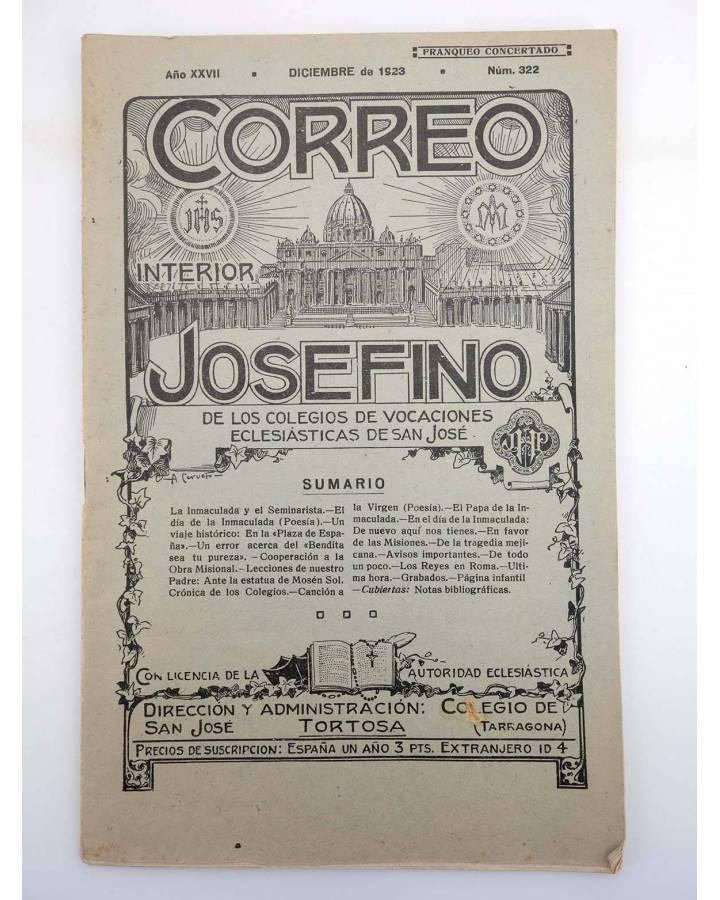Cubierta de REVISTA CORREO INTERIOR JOSEFINO 322. COLEGIOS DE SAN JOSÉ. DICIEMBRE (Mosen Sol) Colegio de San José 1923