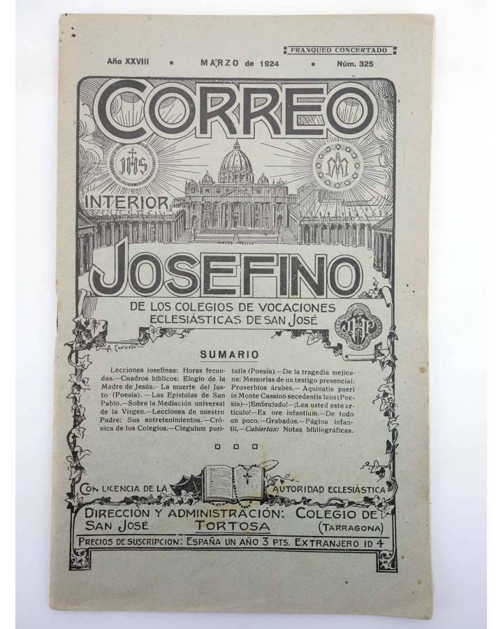 Cubierta de REVISTA CORREO INTERIOR JOSEFINO 325. COLEGIOS DE SAN JOSÉ. MARZO (Mosen Sol) Colegio de San José 1924