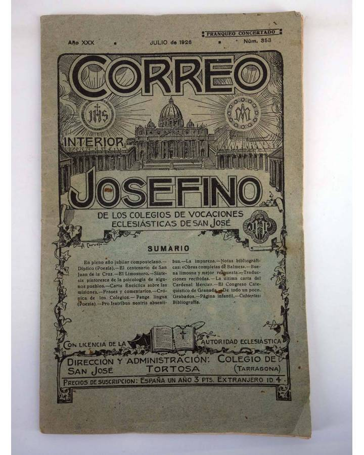 Cubierta de REVISTA CORREO INTERIOR JOSEFINO 353. COLEGIOS DE SAN JOSÉ. JULIO (Mosen Sol) Colegio de San José 1926