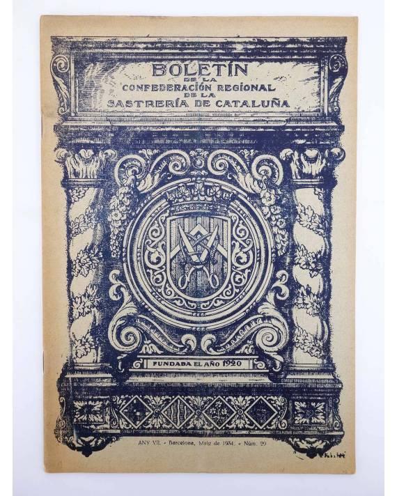 Cubierta de BOLETÍN DE LA CONFEDERACIÓN REGIONAL DE LA SASTRERÍA DE CATALUÑA 29. MASONERÍA. MAYO 1934. MODA (Vvaa) 1934