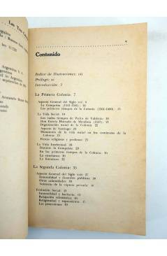 Contracubierta de LAS TRES COLONIAS. ENSAYO DE INTERPRETACIÓN HISTÓRICA (Eduardo Solar Correa) Francisco de Aguirre 1970