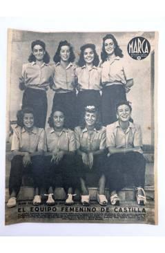 Cubierta de MARCA SEMANARIO GRÁFICO DE LOS DEPORTES 187. EL EQUIPO FEMENINO DE CASTILLA. 8 SEPT 1942 (Vvaa) Marca 1942