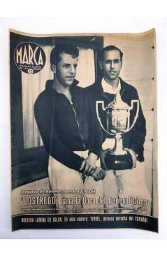 Cubierta de MARCA SEMANARIO GRÁFICO DE LOS DEPORTES 184. LOSTREGO GANA LA COPA DEL GENERALÍSIMO. 18 AGO 1942 (Vvaa) Marc