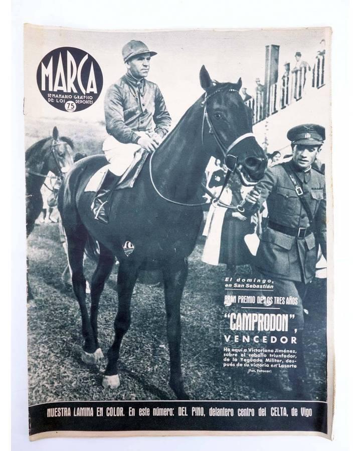 Cubierta de MARCA SEMANARIO GRÁFICO DE LOS DEPORTES 183. TRES AÑOS. CAMPRODÓN VENCEDOR. 11 AGO 1942 (Vvaa) Marca 1942