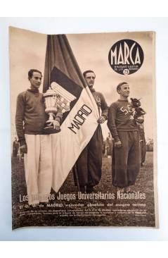 Cubierta de MARCA SEMANARIO GRÁFICO DE LOS DEPORTES 168. ADRID VENCEDOR. 28 ABRIL 1942 (Vvaa) Marca 1942