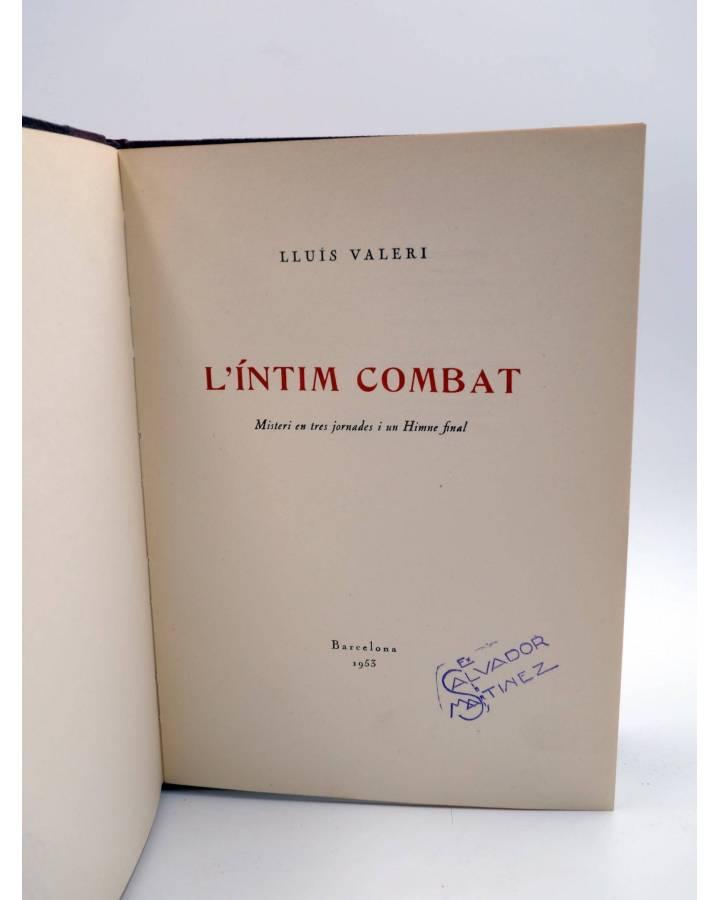 Cubierta de L'ÍNTIM COMBAT. MISTERI EN TRES JORNADES I UN HIMNE FINAL (Lluís Valeri) Barcelona 1953