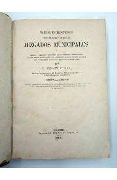Contracubierta de MANUAL ENCICLOPÉDICO TEORICO PRACTICO DE LOS JUZGADOS MUNICIPALES (Fermin Abella) E. de la Riva 1871