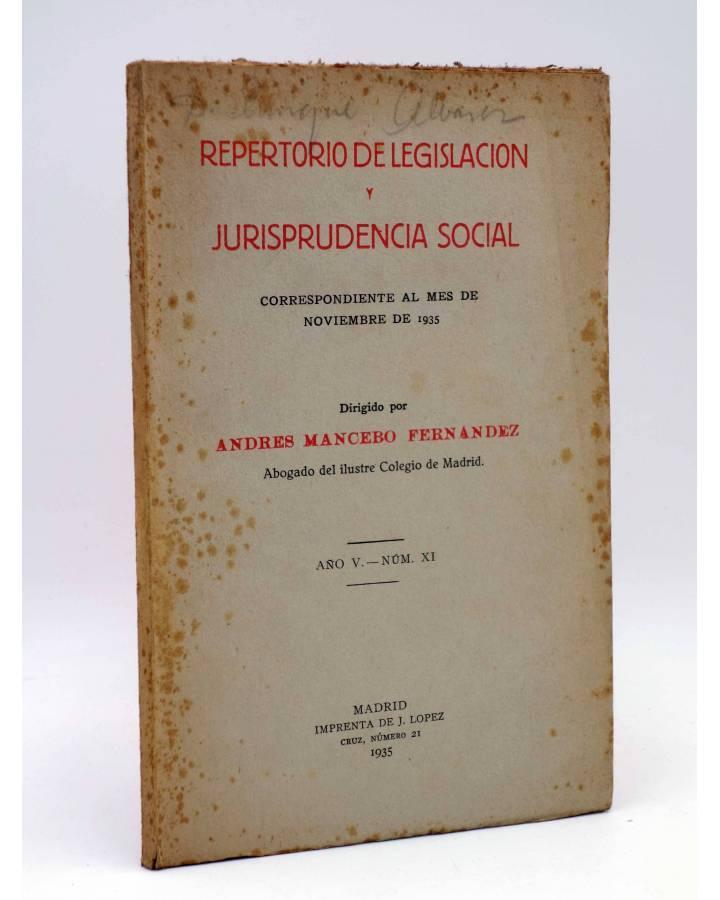 Cubierta de REPERTORIO DE LEGISLACIÓN Y JURISPRUDENCIA SOCIAL. NOVIEMBRE 1935 (Andrés Mancebo Fernández) J. López 1935