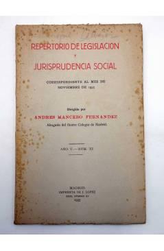 Contracubierta de REPERTORIO DE LEGISLACIÓN Y JURISPRUDENCIA SOCIAL. NOVIEMBRE 1935 (Andrés Mancebo Fernández) J. López