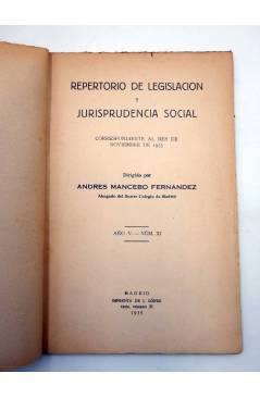 Muestra 1 de REPERTORIO DE LEGISLACIÓN Y JURISPRUDENCIA SOCIAL. NOVIEMBRE 1935 (Andrés Mancebo Fernández) J. López 1935