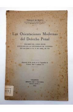 Contracubierta de LAS ORIENTACIONES MODERNAS DEL DERECHO PENAL (Enrique De Benito) F. Vivés Mora 1922