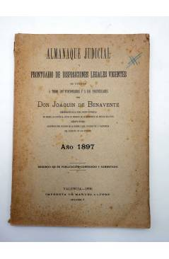 Contracubierta de ALMANAQUE JUDICIAL Y PRONTUARIO DE DISPOSICIONES LEGALES VIGENTES (D. Joaquín De Benavente) Manuel Alu