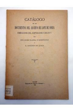 Contracubierta de CATÁLOGO DE LOS DOCUMENTOS DEL ARCHIVO DE LOPE DE SORIA (Ibarra Y Rodríguez / Arsenio De Izaga) 1931