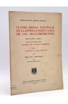 Cubierta de CUATRO REINAS ESPAÑOLAS EN LA EPOPEYA PORTUGUESA DE LOS DESCUBRIMIENTOS (Félix De Llanos) Magisterio Español