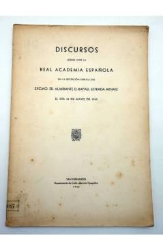 Contracubierta de DISCURSOS LEIDOS ANTE LA REAL ACADEMIA ESPAÑOLA (Almirante D. Rafael Estrada Arnaiz) Departamento de C