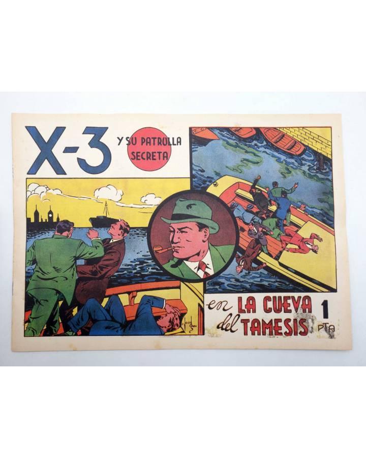 Cubierta de X3 X-3 Y SU PATRULLA SECRETA 1. EN LA CUEVA DEL TÁMESIS (José Grau) Comic Mam? 1985. FACSÍMIL