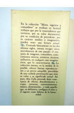 Contracubierta de FACSIMIL JUEGOS DE MANOS O SEA ARTE DE HACER DIABLURAS (Pablo Minguet) Alta Fulla 1981