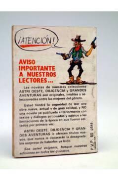 Contracubierta de DILIGENCIA 153. LA BODA DE EL VENGADOR (Montana Blake) Astri 1987