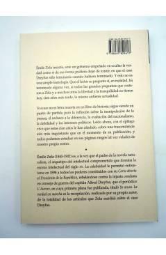 Contracubierta de CLÁSICOS DE LA PRENSA I. YO ACUSO. LA VERDAD EN MARCHA (Emile Zola) Prensa Ibérica 1998