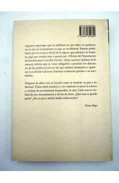 Contracubierta de ESTRICTAMENTE PROHIBIDO. REPORTAJES CENSURADOS Y OTROS RELATOS DE LA ESPAÑA NEGRA (Eliseo Bayo) Prensa