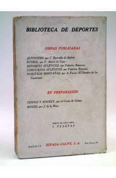 Contracubierta de BIBLIOTECA DE DEPORTES NUESTRAS MONTAÑAS (A. Ferrer – El Hombre De Las Cavernas) Espasa Calpe 1927