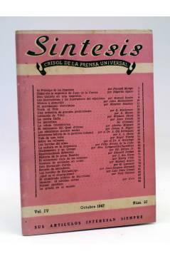 Cubierta de REVISTA SÍNTESIS. CRISOL DE LA PRENSA UNIVERSAL 22 (Vvaa) Piles 1947