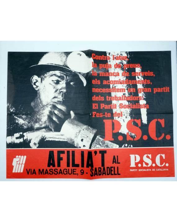Cubierta de CARTEL ELECTORAL AFILIA'T AL PSC PARTIT SOCIALISTA DE CATALUNYA. 555X43 CM TRANSICIÓN ESPAÑOLA. Sabadell 197