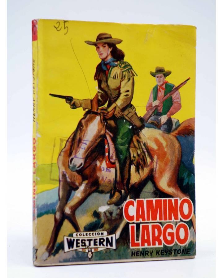 Cubierta de COLECCIÓN WESTERN 17. CAMINO LARGO (Henry Keystoke) Valenciana 1961. Sello en cubierta