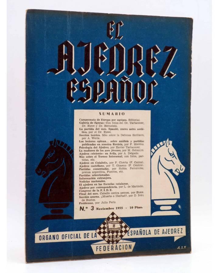 Cubierta de EL AJEDREZ ESPAÑOL AÑO I Nº 3. REVISTA MENSUAL. NOVIEMBRE (Vvaa) FEDA 1955