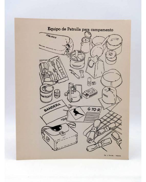 Cubierta de LÁMINA. EQUIPO DE PATRULLA PARA CAMPAMENTO. Tip. J. Garrote Valencia Circa 1966. ESCULTISMO. 20x25CM