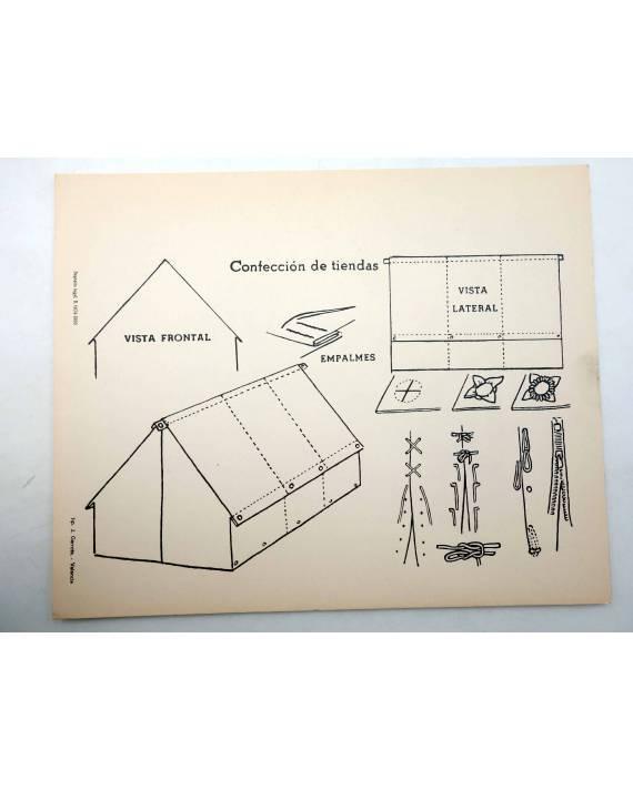 Cubierta de LÁMINA. CONFECCIÓN DE TIENDAS. Tip. J. Garrote Valencia 1966. ESCULTISMO. 20x25CM