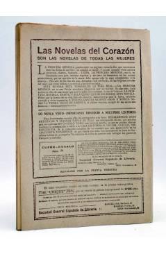 Contracubierta de LAS NOVELAS DEL CORAZÓN. LA PRINCESA MENDIGA 30 (Hugo De América) Vecchi Circa 1920