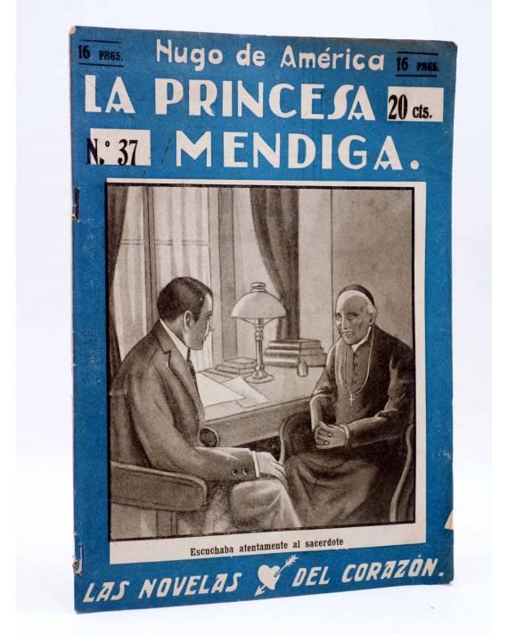 Cubierta de LAS NOVELAS DEL CORAZÓN. LA PRINCESA MENDIGA 37 (Hugo De América) Vecchi Circa 1920
