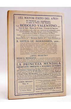 Contracubierta de LAS NOVELAS DEL CORAZÓN. LA PRINCESA MENDIGA 41 (Hugo De América) Vecchi Circa 1920