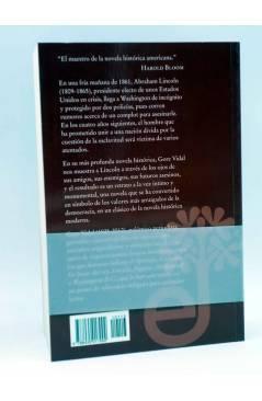 Contracubierta de LINCOLN (Gore Vidal) Edhasa 2008