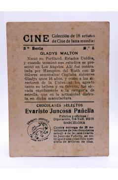 Contracubierta de CROMO CINE. COLECCIÓN DE 19 ARTISTAS DE FAMA MUNDIAL 3ª Serie nº 5. GLADYS WALTON. Evaristo Juncosa Pa