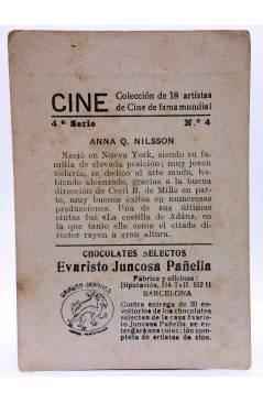 Contracubierta de CROMO CINE. COLECCIÓN DE 19 ARTISTAS DE FAMA MUNDIAL 4ª Serie nº 4. ANNA Q. WILSON. Evaristo Juncosa P