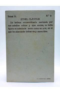 Contracubierta de CROMO GALERÍA CINEMATOGRÁFICA Serie A nº 8. ETHEL CLAYTON. Chocolates Riucord Circa 1930