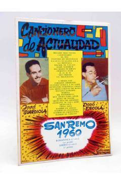 Cubierta de CANCIONERO DE ACTUALIDAD.. SAN REMO 1960. GUARDIOLA ESCOLÁ. Bistagne 1960