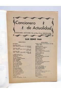 Muestra 1 de CANCIONERO DE ACTUALIDAD.. SAN REMO 1960. GUARDIOLA ESCOLÁ. Bistagne 1960
