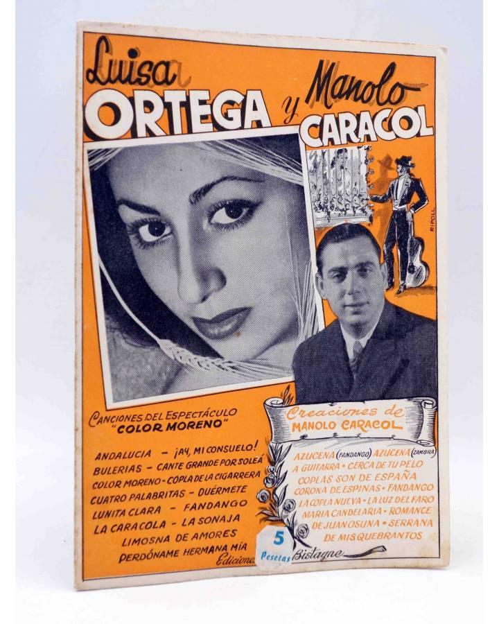 Cubierta de CANCIONERO. COLOR MORENO: LUISA ORTEGA Y MANOLO CARACOL. Bistagne Circa 1950