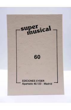 Contracubierta de CROMO SUPER MUSICAL 60. LUZ CASAL. Eyder Circa 1980