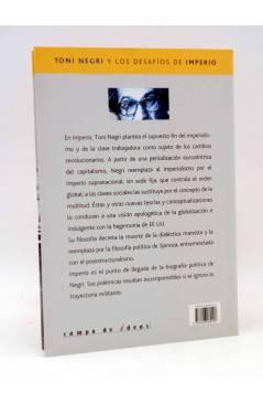 Contracubierta de INTELECTUALES. TONI NEGRI Y LOS DESAFÍOS DE IMPERIO (Néstor Kohan) Campo de Ideas 2002