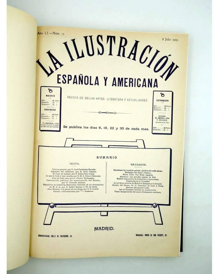 Cubierta de REVISTA LA ILUSTRACIÓN ESPAÑOLA Y AMERICANA. SEGUNDO SEMESTRE 1907. INCOMPLETO (Vvaa) Madrid 1907