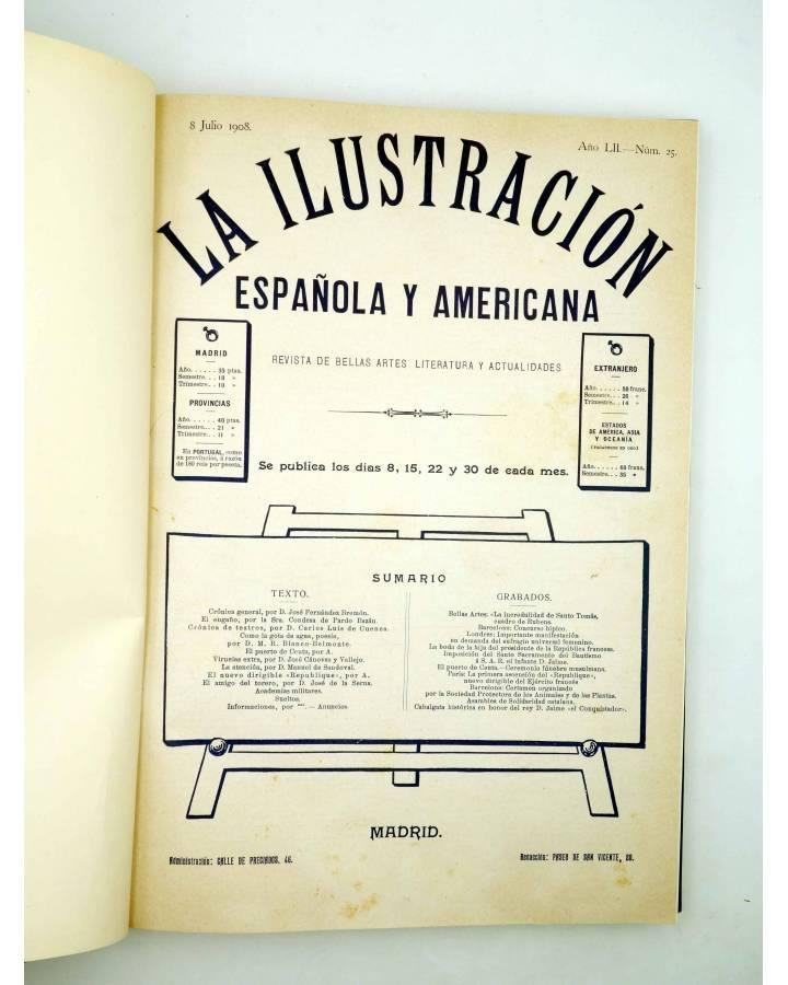 Cubierta de REVISTA LA ILUSTRACIÓN ESPAÑOLA Y AMERICANA. SEGUNDO SEMESTRE 1908. INCOMPLETO (Vvaa) Madrid 1908