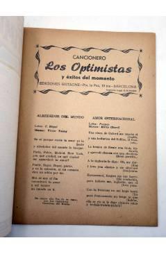 Muestra 1 de CANCIONERO. LOS OPTIMISTAS Y ÉXITOS DEL MOMENTO. Bistagne 1959