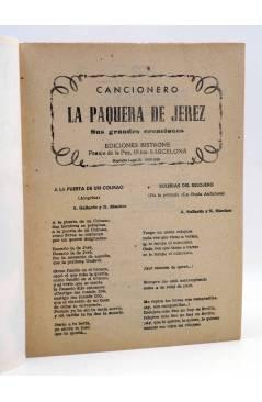 Muestra 1 de CANCIONERO. LA PAQUERA DE JEREZ SUS GRANDES CREACIONES. Bistagne 1960
