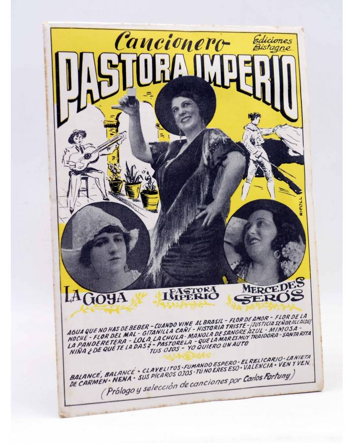 Cubierta de CANCIONERO. PASTORA IMPERIO LA GOYA MERCEDES SERÓS: CUPLÉS. Bistagne Circa 1950